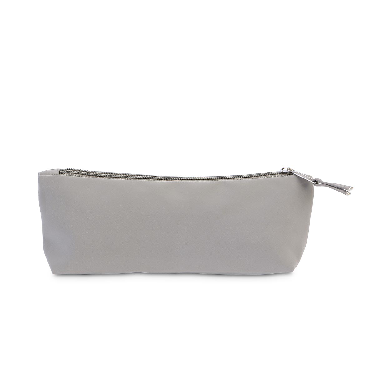 gray suede zipper pouch