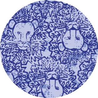 pattern - lion around blue